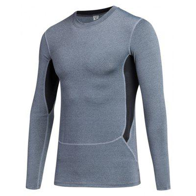 Men Skinny Training Sports Fitness Running Quick-Drying Long-Sleeved T-Shirt