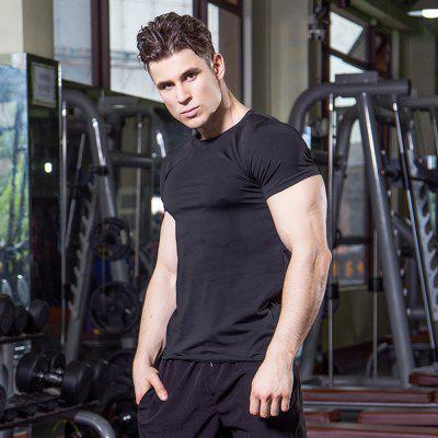 Mens Fitness Running  Stretch Speed Dry Short-Sleeved T-ShirtSport Clothing<br>Mens Fitness Running  Stretch Speed Dry Short-Sleeved T-Shirt<br><br>Material: Polyester, Spandex<br>Package Contents: 1 x T-shirt<br>Pattern Type: Solid<br>Weight: 0.1500kg