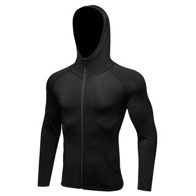 Buy Men's Sports Coat Fitness Zipper Casual Hoodie Quick-Drying Jacket BLACK XL for $28.02 in GearBest store