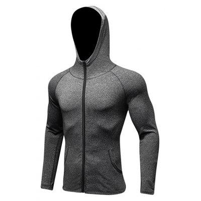 Buy Men's Sports Coat Fitness Zipper Casual Hoodie Quick-Drying Jacket GRAY M for $28.02 in GearBest store