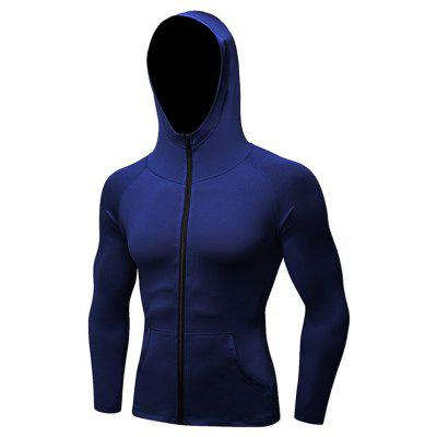 Buy Men's Sports Coat Fitness Zipper Casual Hoodie Quick-Drying Jacket CADETBLUE XL for $28.02 in GearBest store