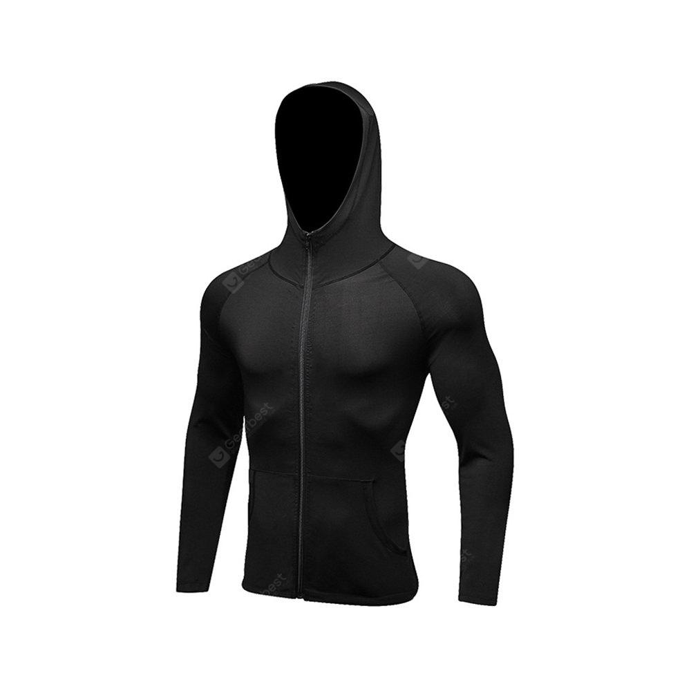 Men's Sports Coat Fitness Zipper Casual Hoodie Quick-Drying Jacket BLACK L