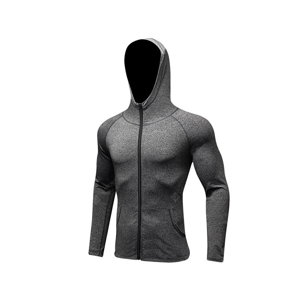 Men's Sports Coat Fitness Zipper Casual Hoodie Quick-Drying Jacket GRAY XL