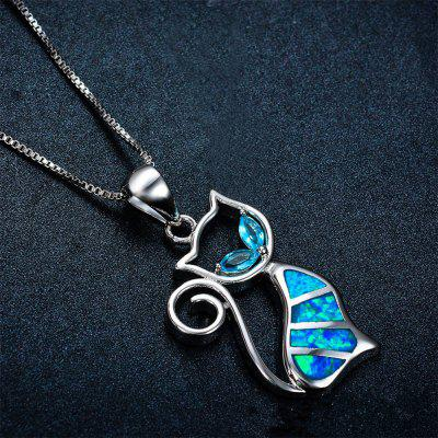 Fashion Jewelry Two Blue Cobalt Opal Cat Pendant NecklaceNecklaces &amp; Pendants<br>Fashion Jewelry Two Blue Cobalt Opal Cat Pendant Necklace<br><br>Gender: Unisex<br>Package Contents: 1 x Necklace<br>Package size (L x W x H): 15.00 x 10.00 x 2.00 cm / 5.91 x 3.94 x 0.79 inches<br>Package weight: 0.0600 kg<br>Style: Romantic