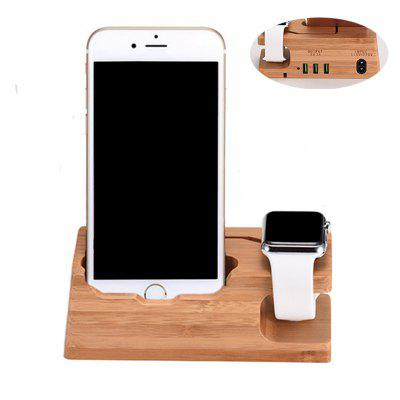 Bamboo Wooden Charging Base EU Plug Phone Stand for Apple Watch iPhone 5 5S / 6 6S 6Plus / 7 7Plus / 8 / X