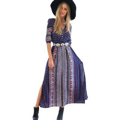 Womens Print Bohemian DressMaxi Dresses<br>Womens Print Bohemian Dress<br><br>Dresses Length: Mid-Calf<br>Elasticity: Nonelastic<br>Fabric Type: Cotton and kapok hemp<br>Material: Cotton Blend<br>Neckline: V-Neck<br>Package Contents: 1XDress<br>Pattern Type: Print<br>Season: Summer<br>Silhouette: A-Line<br>Sleeve Length: Half Sleeves<br>Style: Bohemian<br>Weight: 0.2000kg<br>With Belt: No