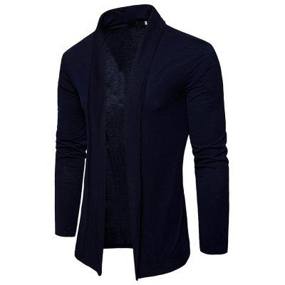 New Spring Men's Fashion Simple Solid Basic Polo Cardigan Shirt