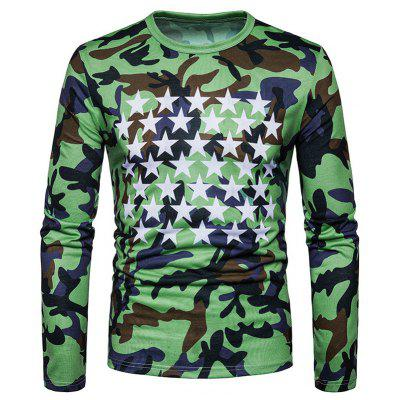 The New Spring Fashion Air Camouflage Printed All-Match Star T-Shirts