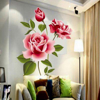 3D Rose Flower Romantic Love Wall Sticker Removable Decal Home Decor Living Room Bed Decals Mother's Day Gift