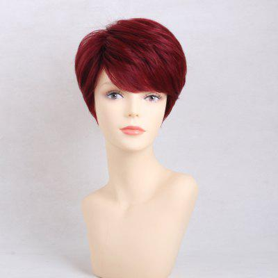Leaning Red and Fresh Short Straight  Human Hair Wigs