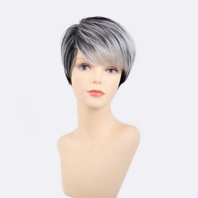Women Human Capless Wigs Black / Grey Short Straight Hair