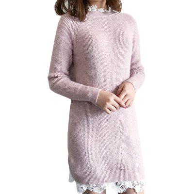 Lace Long Knit Sweater DressSweater Dresses<br>Lace Long Knit Sweater Dress<br><br>Dresses Length: Knee-Length<br>Elasticity: Elastic<br>Embellishment: Vintage<br>Fabric Type: Worsted<br>Material: Wool<br>Neckline: Round Collar<br>Package Contents: 1 x Dress<br>Pattern Type: Solid<br>Season: Fall, Winter, Spring<br>Silhouette: Sheath<br>Sleeve Length: Long Sleeves<br>Style: Brief<br>Waist: Empire<br>Weight: 0.6000kg<br>With Belt: No