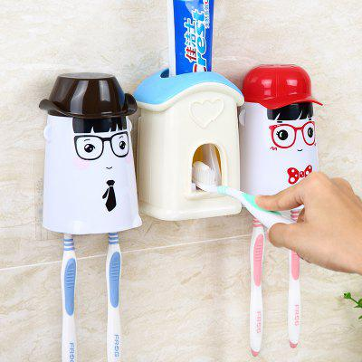 Buy Wall Suction Toothpaste Toothpaste Automatic Toothpaste Couple Wash Sets BLUE 24X8X13CM for $16.33 in GearBest store
