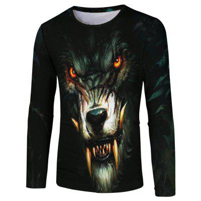 Hungry Wolf 3D Digital Printing Long Sleeve T-shirt