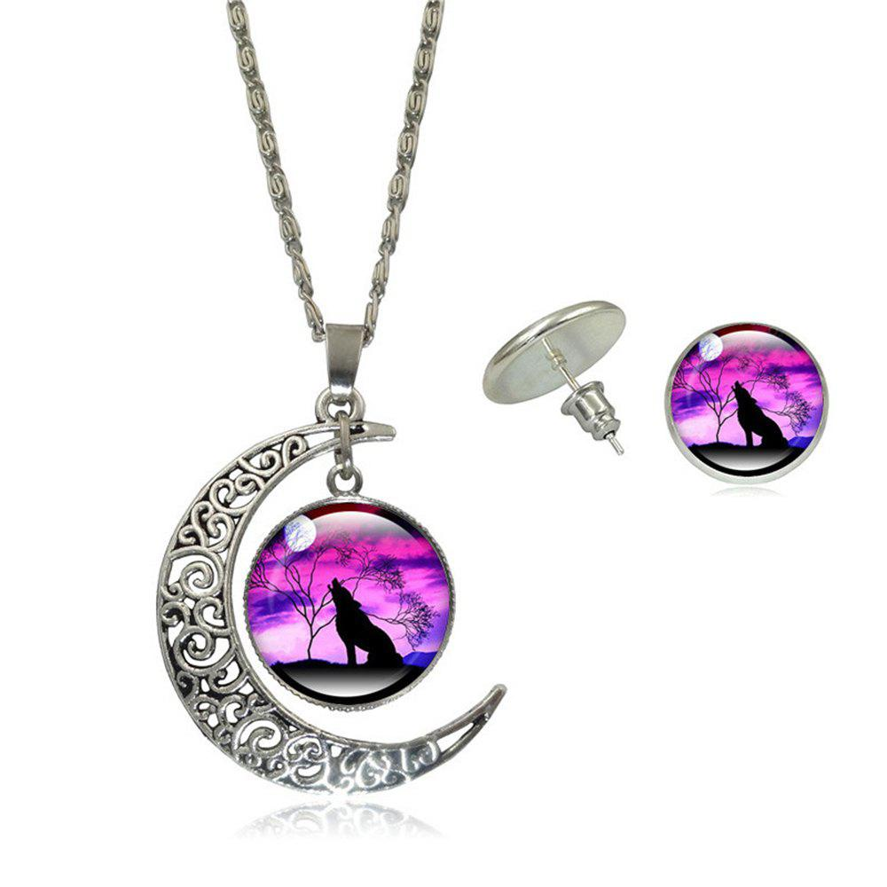Wolf Totem Gem Necklace Earrings Set