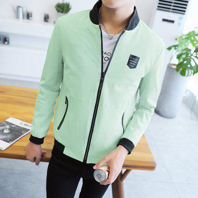 2018 New  Mens Solid Color  Slim JacketMens Jackets &amp; Coats<br>2018 New  Mens Solid Color  Slim Jacket<br><br>Clothes Type: Jackets<br>Collar: Stand Collar<br>Material: Polyester<br>Package Contents: 1 x Jacket<br>Season: Spring, Fall<br>Shirt Length: Regular<br>Sleeve Length: Long Sleeves<br>Style: Fashion<br>Weight: 0.5000kg