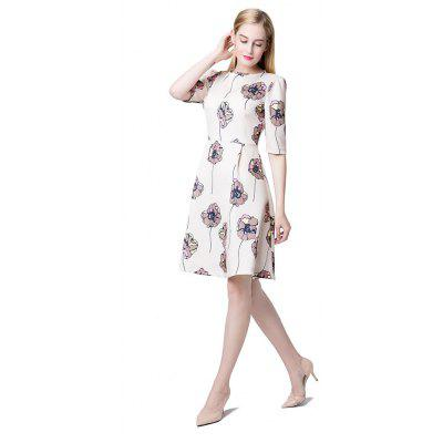 Floral Print Half Sleeve A-line Dress For WomenWomens Dresses<br>Floral Print Half Sleeve A-line Dress For Women<br><br>Dresses Length: Mid-Calf<br>Elasticity: Elastic<br>Fabric Type: Jersey<br>Material: Polyester<br>Neckline: Round Collar<br>Package Contents: 1xDress<br>Pattern Type: Plant<br>Season: Spring, Summer, Fall<br>Silhouette: A-Line<br>Sleeve Length: Short Sleeves<br>Style: Fashion<br>Weight: 0.3100kg<br>With Belt: No
