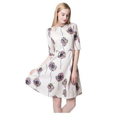 Floral Print Half Sleeve A-line Dress For Women