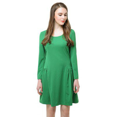 Buy Long Sleeve A Line Fashion Green Dress GREEN L for $25.77 in GearBest store