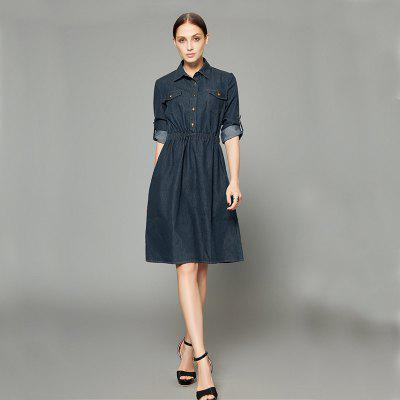 Womens Classic Solid Color Midi Denim DressSleeveless Dresses<br>Womens Classic Solid Color Midi Denim Dress<br><br>Dresses Length: Mid-Calf<br>Elasticity: Micro-elastic<br>Fabric Type: Broadcloth<br>Material: Cotton, Polyester<br>Neckline: Turn-down Collar<br>Package Contents: 1xDress<br>Pattern Type: Others<br>Season: Spring, Summer, Fall<br>Silhouette: A-Line<br>Sleeve Length: Long Sleeves<br>Style: Vintage<br>Weight: 0.3400kg<br>With Belt: No