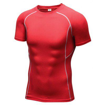 Buy Men's Tight Fitness Stretch Sweat Quick-Drying Compression T-Shirt RED XL for $19.14 in GearBest store
