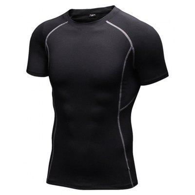 Buy Men's Tight Fitness Stretch Sweat Quick-Drying Compression T-Shirt BLACK M for $19.14 in GearBest store