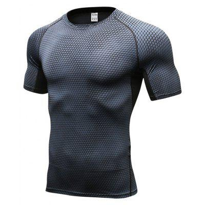 Men's 3D Three-Dimensional Printing Elastic Perspiration Speed Dry T-Shirt