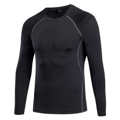 Buy Men's Tight Fitness Stretch Sweat Quick-Drying T-Shirt BLACK L for $21.43 in GearBest store