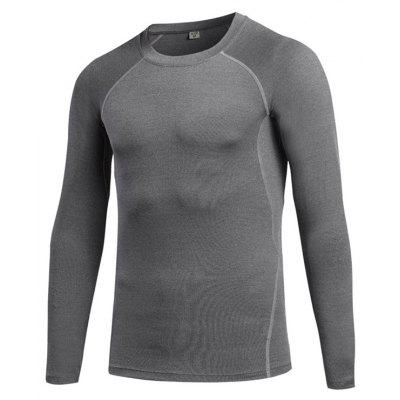 Buy Men's Tight Fitness Stretch Sweat Quick-Drying T-Shirt GRAY M for $21.43 in GearBest store