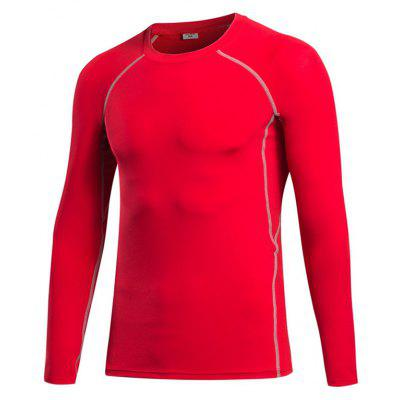 Buy Men's Tight Fitness Stretch Sweat Quick-Drying T-Shirt RED L for $21.43 in GearBest store