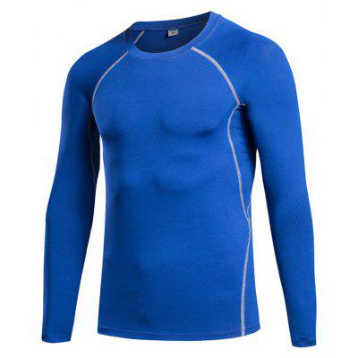 Buy Men's Tight Fitness Stretch Sweat Quick-Drying T-Shirt BLUE S for $21.43 in GearBest store