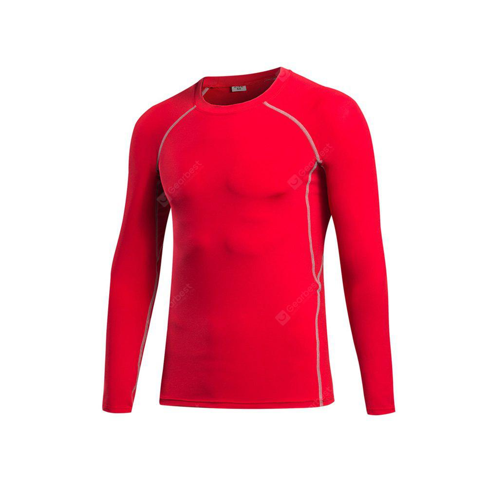 Men's Tight Fitness Stretch Sweat Quick-Drying T-Shirt RED 2XL