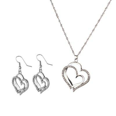 Double Diamond Heart Necklace Earrings Set