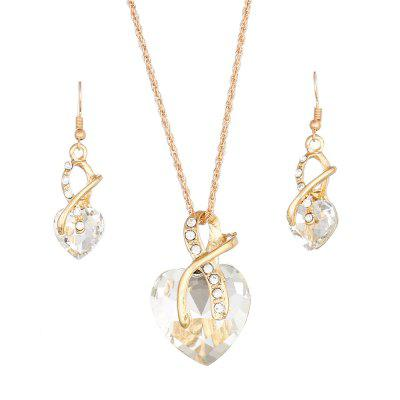 Austria Crystal Jewelry Bride Hot Explosion Heart Shape Pendant Necklace Earrings Set Heart
