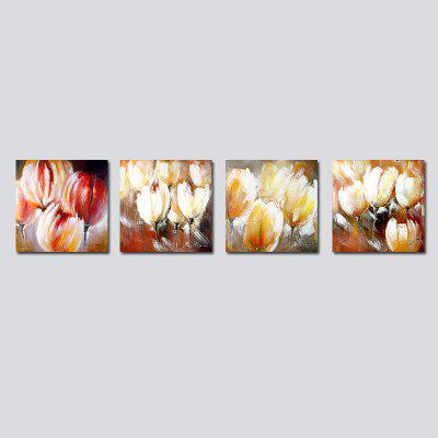 QiaoJiaHuaYuan No Frame Canvas Living Room Sofa Background Four union Painting Abstract Flower Decoration Hanging Pictur