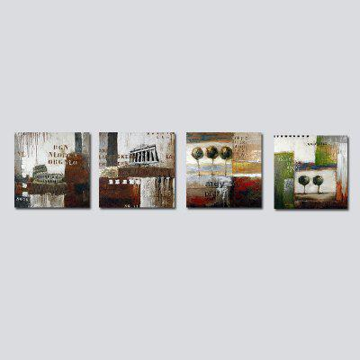 QiaoJiaHuaYuan No Frame Canvas Living Room Sofa Background Abstract Four Pieces of Decorative Hanging Picture