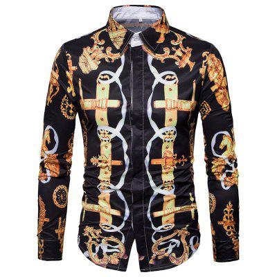 American New Casual and Comfortable 3D Lapel Long Sleeved Shirt