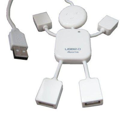 High Speed 4 Ports 2.0 Hub White Mini Man USB Hub