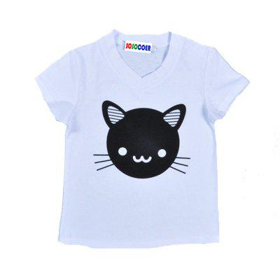 SOSOCOER Kids Girls Clothes Set Cat Print Short Sleeved T-Shirt + Pants Two Pieces 2016 new arrival teen clothes summer girls t shirt cotton short sleeved shirt fashion kids clothes
