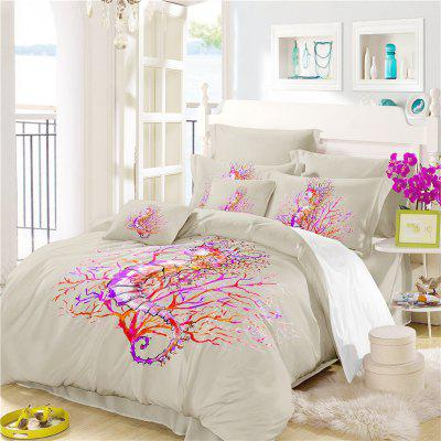 Embroidered Hippocampal Coral Series Bedding Three or Four Pieces Set SK16