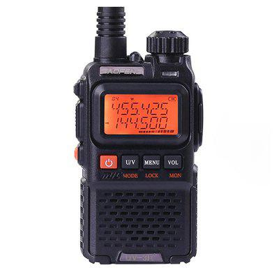 BAOFENG UV-3R+ Mini Walkie Talkie UHF VHF Dual Band Dual Display Full Channels FM Radio Flashlight