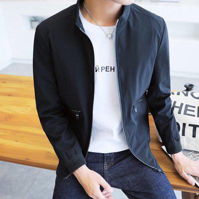 Mens Jacket Spring and Autumn 2018 New Handsome Trend of Self-cultivation  JacketMens Jackets &amp; Coats<br>Mens Jacket Spring and Autumn 2018 New Handsome Trend of Self-cultivation  Jacket<br><br>Clothes Type: Jackets<br>Collar: Stand Collar<br>Fabric Type: Worsted<br>Material: Polyester<br>Package Contents: 1xJacket<br>Season: Spring, Fall, Winter<br>Shirt Length: Regular<br>Sleeve Length: Long Sleeves<br>Style: Casual<br>Weight: 0.5000kg