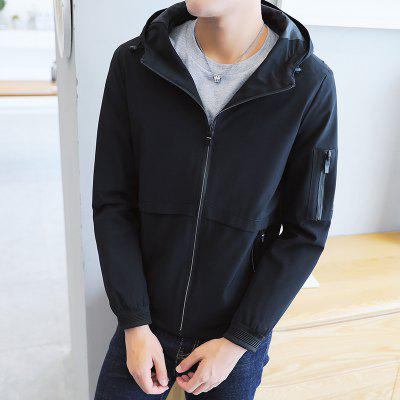 Mens Coat Spring  2018 New Handsome Trend of Self-cultivation JacketMens Jackets &amp; Coats<br>Mens Coat Spring  2018 New Handsome Trend of Self-cultivation Jacket<br><br>Clothes Type: Jackets<br>Collar: Hooded<br>Material: Polyester<br>Package Contents: 1xJacket<br>Season: Spring, Fall, Winter<br>Shirt Length: Regular<br>Sleeve Length: Long Sleeves<br>Style: Casual<br>Weight: 0.5000kg