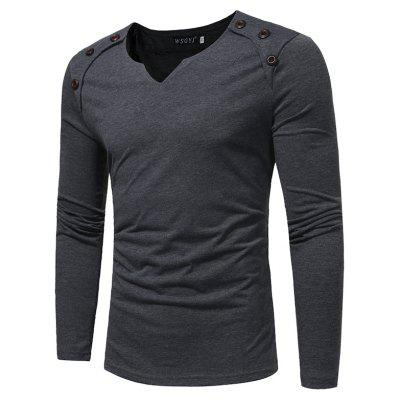 Men's Fashion  Button Stitching Long-Sleeved  Solid Color  T-Shirt