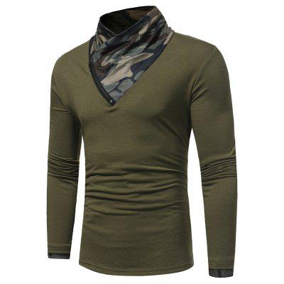 Men's Fashion Camouflage Collar Solid Color Slim Long-Sleeved  Casual Large Size T-Shirt
