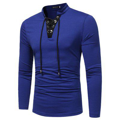 New Men'S Fashion V-Neck Drawstring Tie Color Long-Sleeved T-Shirt Tide Men Slim T-Shirt
