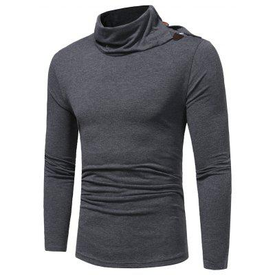 Men's Solid Color High Collar Horns Buckle Personality Slim Long-Sleeved T-Shirt