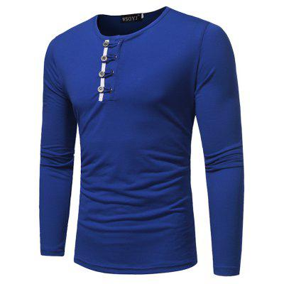 New Fashion Buttons Solid Color Large Long-Sleeved Slim T-Shirt