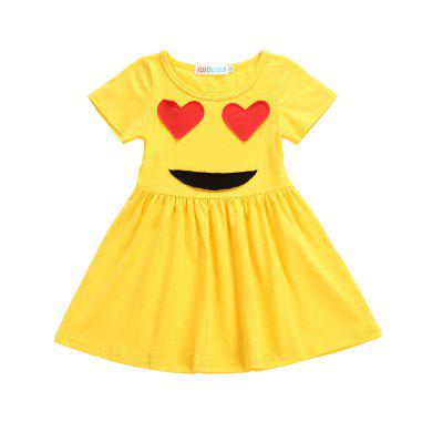 Buy YELLOW AND RED 120 SOSOCOER Girls Dresses Yellow Smiling Face with A Short Sleeved Skirt for $15.02 in GearBest store