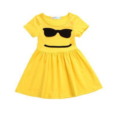 Buy YELLOW AND BLACK 120 SOSOCOER Girls Dresses Yellow Smiling Face with A Short Sleeved Skirt for $15.02 in GearBest store